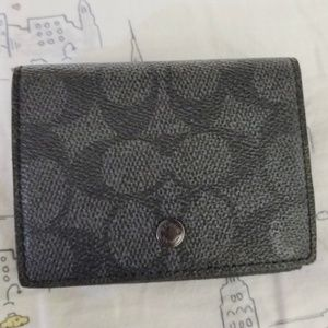 Coach Trifold Origami Coin Wallet Signature Canvas